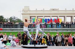 Street actors perform in Gorky recreation park in Moscow Royalty Free Stock Image
