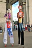 Street actors pose for photos in Moscow Stock Photo