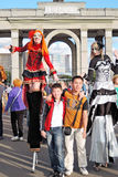 Street actors pose for photos in Moscow Royalty Free Stock Photography