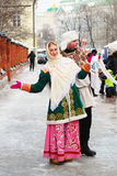 Street actors in Russian national costumes Royalty Free Stock Images