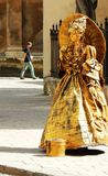 Street actress, golden statue. Royalty Free Stock Images