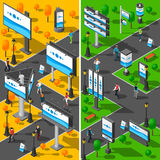 Street Advertising Isometric Banners Set Royalty Free Stock Images