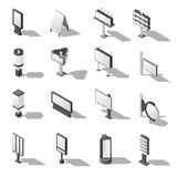 Street Advertising Isometric Icons Set Royalty Free Stock Photography