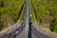 Street aerial with shadow of the victory column in Berlin Royalty Free Stock Photos
