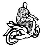 Street African motorcyclist in traditional clothes in a sketch style. Royalty Free Stock Images