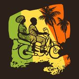Street African motorcyclist in traditional clothes in a sketch style. Stock Photo