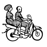 Street African motorcyclist in traditional clothes in a sketch style. Stock Images