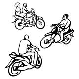 Street African motorcyclist in traditional clothes in a sketch style. Royalty Free Stock Image