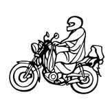 Street African motorcyclist in traditional clothes in a sketch style. Royalty Free Stock Photos