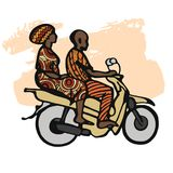 Street African motorcyclist in traditional clothes in a sketch style. Royalty Free Stock Photography