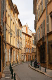 Street in Aix en Provence. Narrow street with typical houses in Aix en Provence town, South France Stock Photos