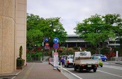 Street in Akita City, Tohoku, Japan. Akita, Japan - May 18, 2017. Vehicles run on main street at downtown in Akita, Japan. Akita is a large prefecture at the Sea royalty free stock image