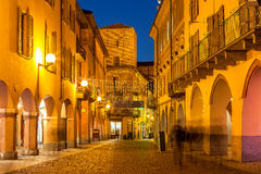 Street of Alba in evening. Royalty Free Stock Photo