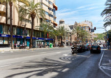 Street of Alicante city center. Spain Royalty Free Stock Images