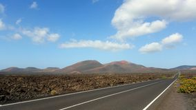 Street along the national park of lanzarote Stock Image