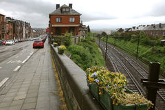 Street along railway in Namur, Belgium Royalty Free Stock Photo