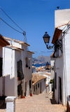 Street in Altea. Picturesque street in Altea Spain with sea view Royalty Free Stock Photography