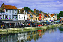 Street of amiens on the bord of river Stock Image