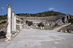 Street and Amphitheater of Ephesus. Izmir, Turkey Stock Images