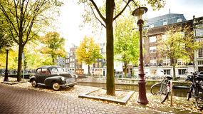 A street in Amsterdam in the Fall Royalty Free Stock Image