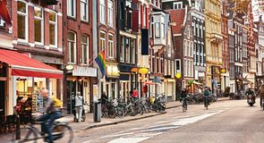 Street in Amsterdam, Netherlands Holland. Old traditional Stock Image