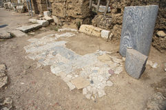 The street of ancient city Laodicea on the Lycus. The street of ancient city Laodikeia with the fragment of tiles, Laodicea on the Lycus Stock Photos