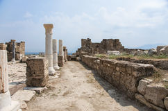 Street in ancient city Laodikeia, Laodicea on the Lycus. Reconstruction of the street in archaic Laodikeia city at the Denizli Province, Laodicea on the Lycus Royalty Free Stock Photos