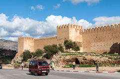 Street and the ancient fortified wall in Fez Royalty Free Stock Photo