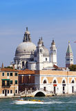 Street with ancient houses and a Catholic cathedral. Italy. Venice Stock Image
