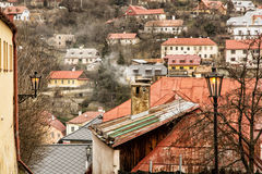Street with ancient houses in the old town Banska Stiavnica Stock Photography