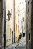 Street with ancient houses in the old town Passau, Germany, Unes Stock Photo