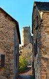 Street in the ancient medieval town of Najac and castle royalty free stock photography