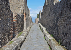 Street in ancient Pompeii, Italy Stock Images