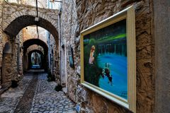 A street in ancient village of Mesta stock images