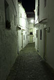 Street in Andalusian village. Narrow street in Andalusian village Casares at night, Spain Stock Images