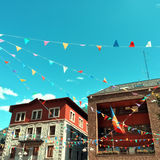 Street of Andorra La Vella decorated with colorful pennants Stock Image