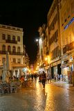 Night animation. Street animation at night at Coimbra, Portugal Stock Images