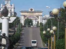 Street. Arc de Triomphe in the city of Ulan-Ude Royalty Free Stock Image