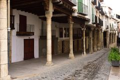 Street with arcades in the town of Morella, Castellon Province, Stock Photos