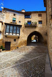 Street with arch and stairs in  Calaceite Royalty Free Stock Image