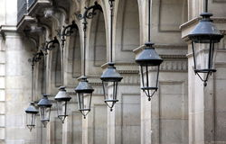 Street architecture in Barcelona. Streets of barcelona with interesting lamps royalty free stock photo