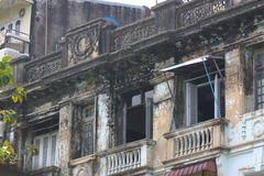 A street architecture view with colonial building in the town of Yangon Royalty Free Stock Photos