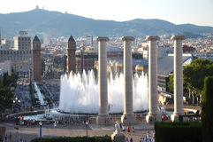 The National Palace in Barcelona by night with cascade fountains view illuminated with lights. Stock Images
