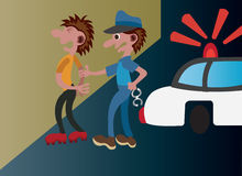 Street arrests. Policeman arresting a suspect on the streets Royalty Free Stock Image