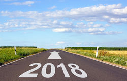 2018 - street with arrow and year Royalty Free Stock Photo