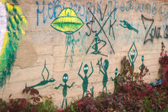 Street art aliens. Near the abandoned factory Royalty Free Stock Images