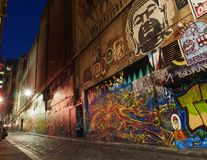 Street Art Alley. A city alley in Melbourne with prominent street art Stock Photos