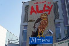 Street art in Almere, The Netherlands. Street art on a building in Almere at Stationsplein, The Netherlands stock photo