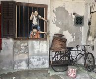 Street Art in Georgetown, Penang , Malaysia. Street art -In 2012, as part of the annual George Town Festival, Lithuanian artist Ernest Zacharevic created a royalty free stock photos