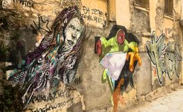 Street art in Athens, Greece. Graffiti in Athens, Metaxourgio, Greece royalty free stock photo